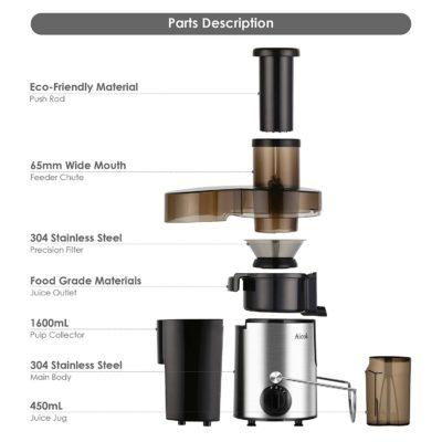 Aicok Centrifuga Juicer Estrattore di Succo Professionale con Juice Jug e Spazzola di Pulizia, Acciaio Inox